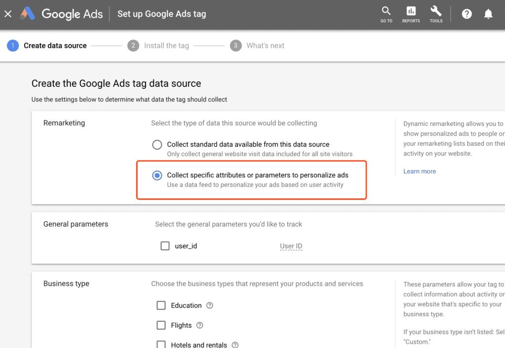 google ads dynamic remarketing setup