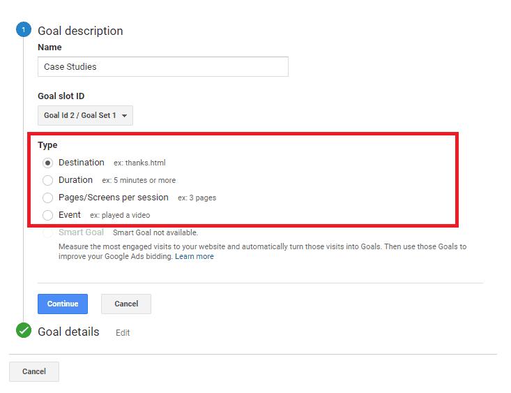 Google Analytics destination goals