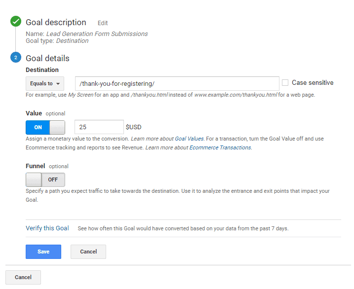 Google Analytics goals description