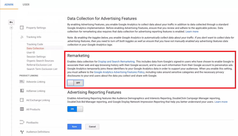 google analytics remarketing setting