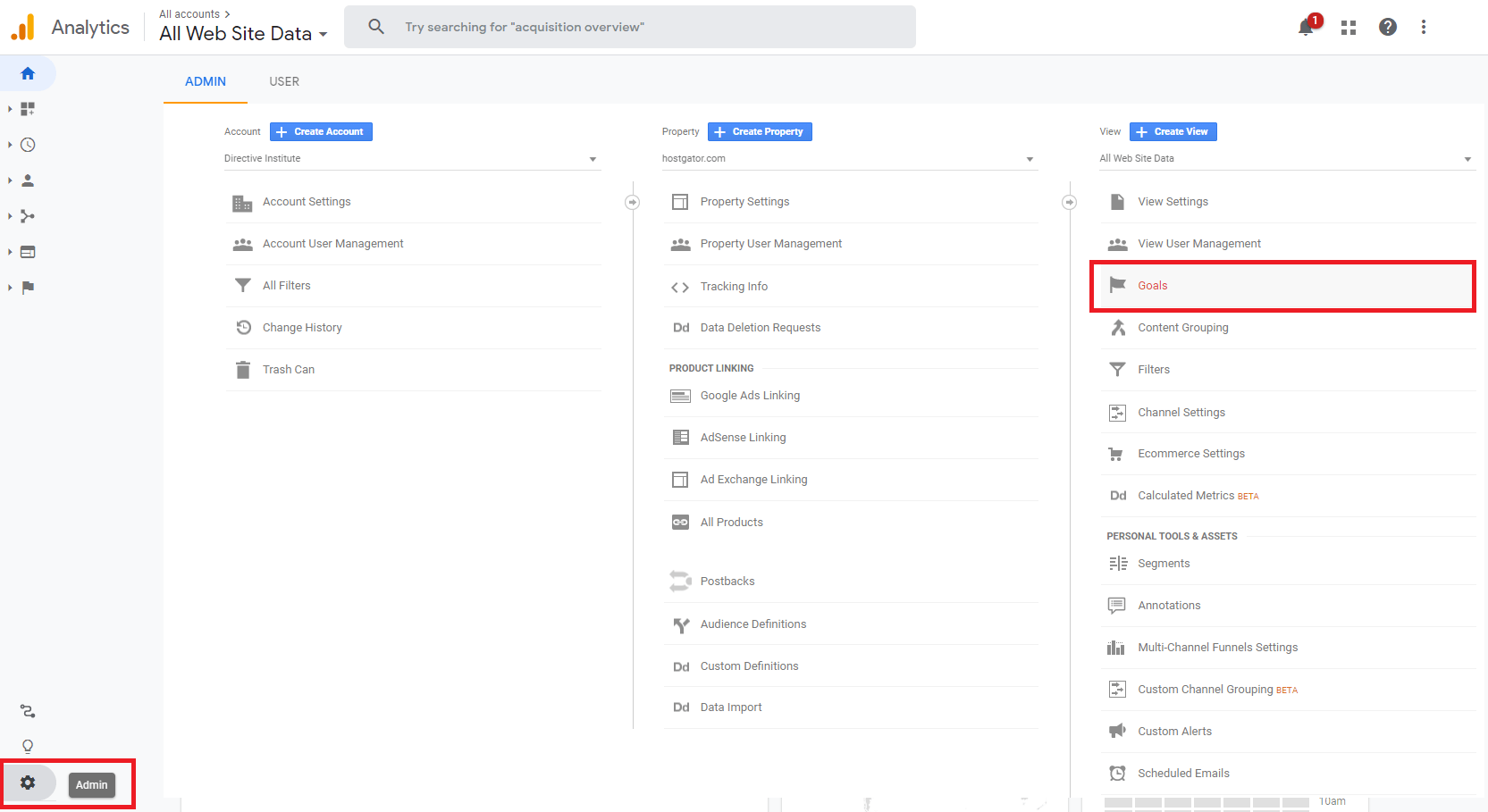 Google Analytics smart goals menu