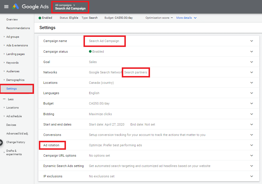 google ads campaign settings audit