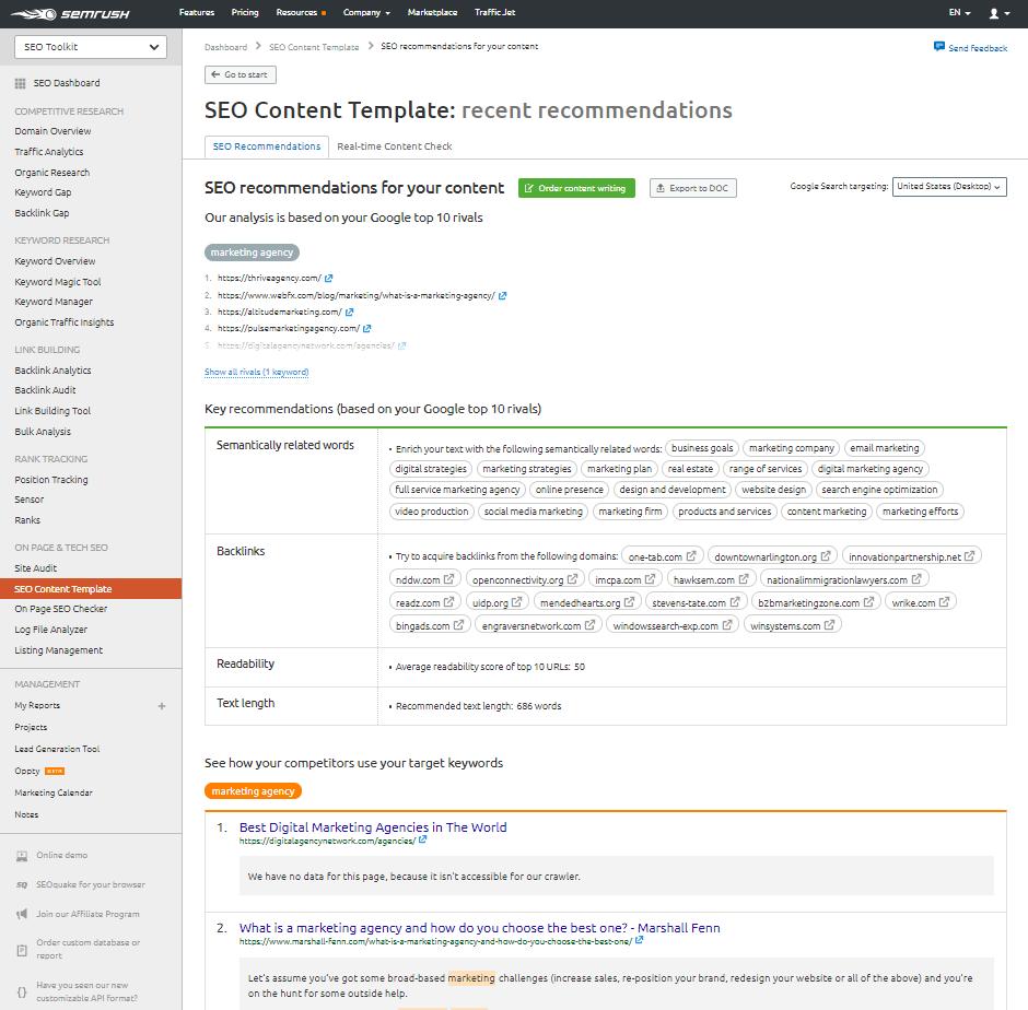 SEMrush content tool