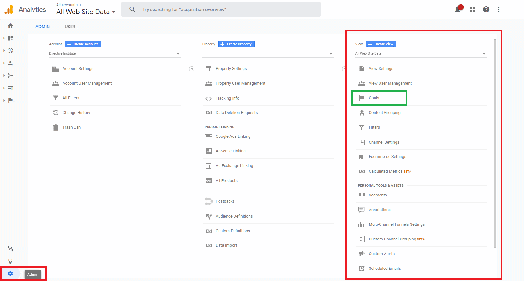 Google Analytics goals funnel set up