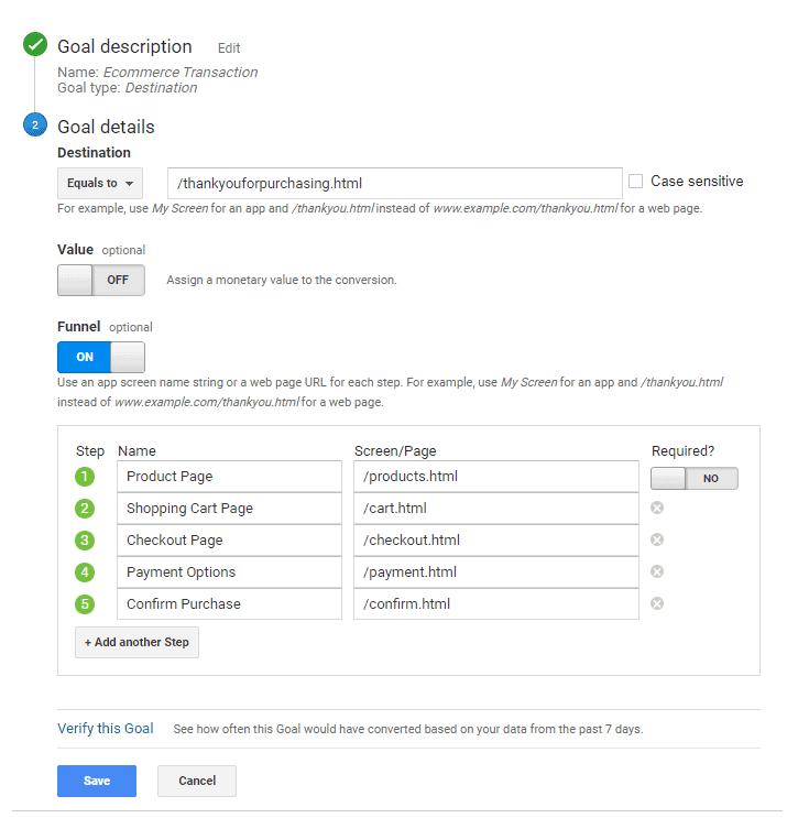 Google Analytics goals funnel