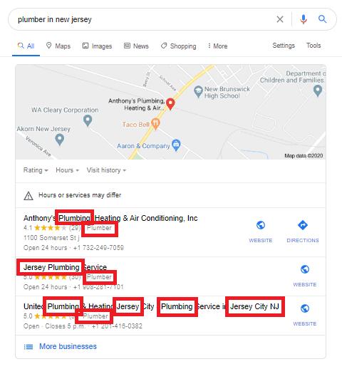 Google local search results