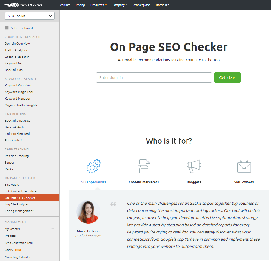 SEMrush On-Page SEO Checker