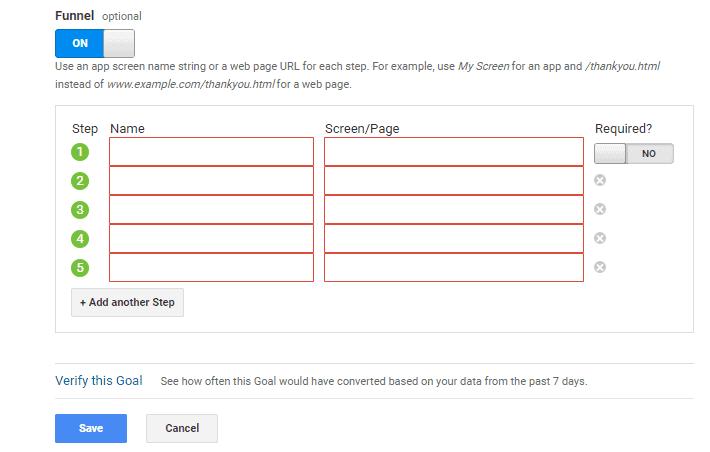 Google Analytics funnel goals