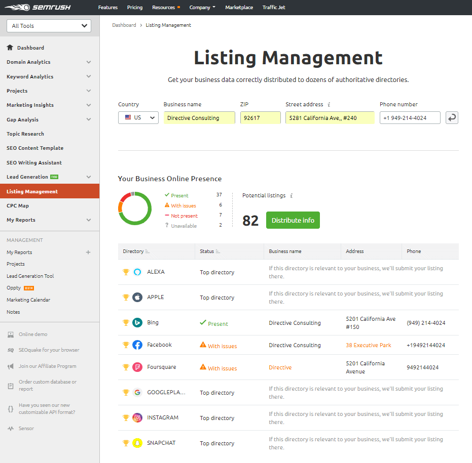 SEMrush listing management page