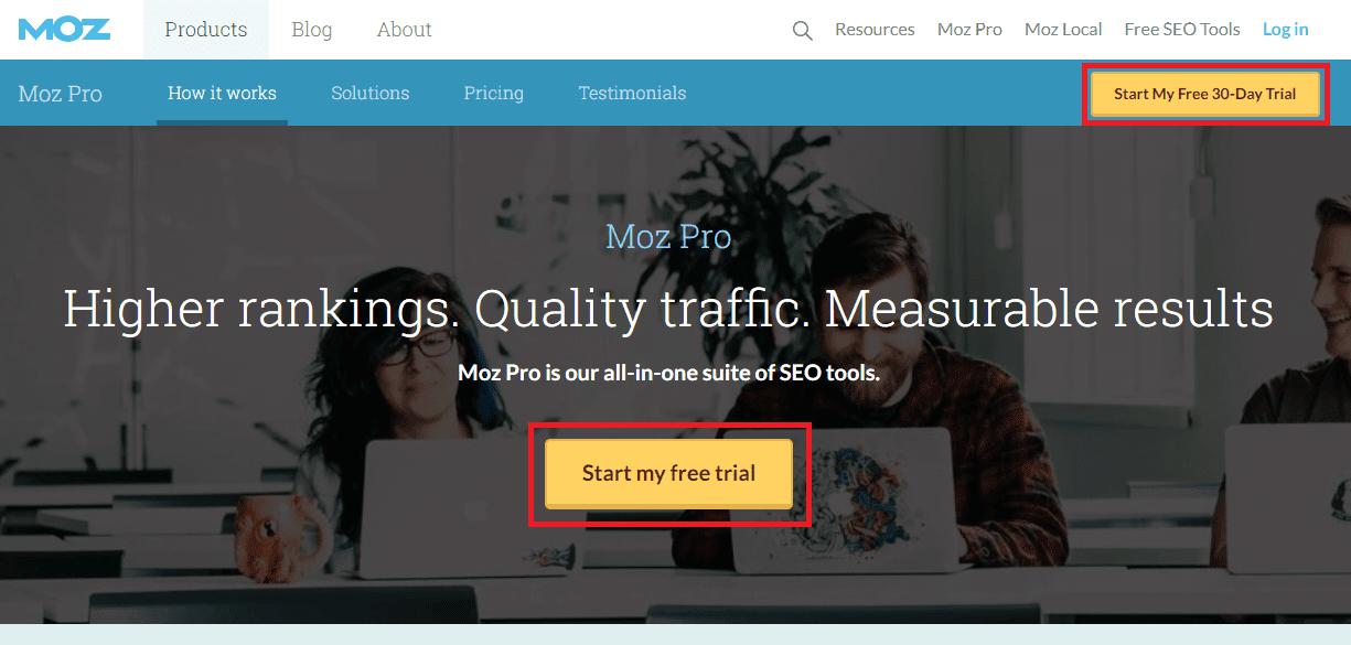Moz Pro web interface