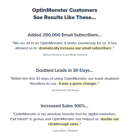 Customer Testimonials featured on OptinMonster.com