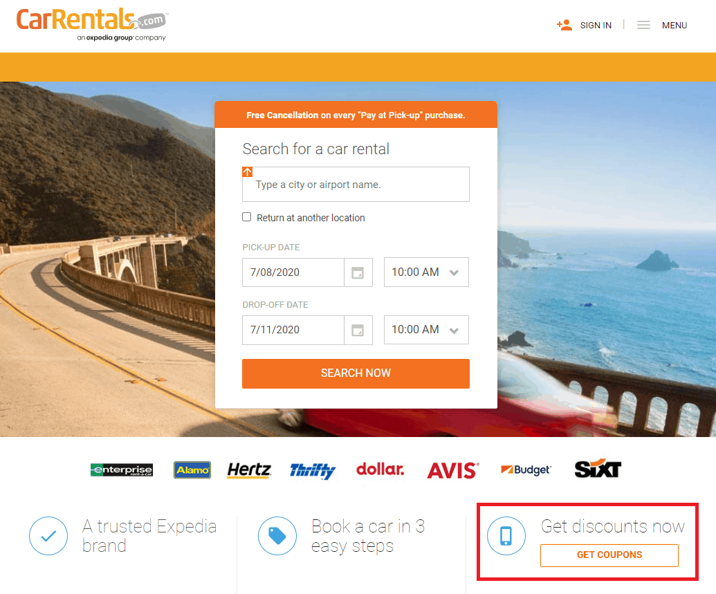 Car rentals web interface