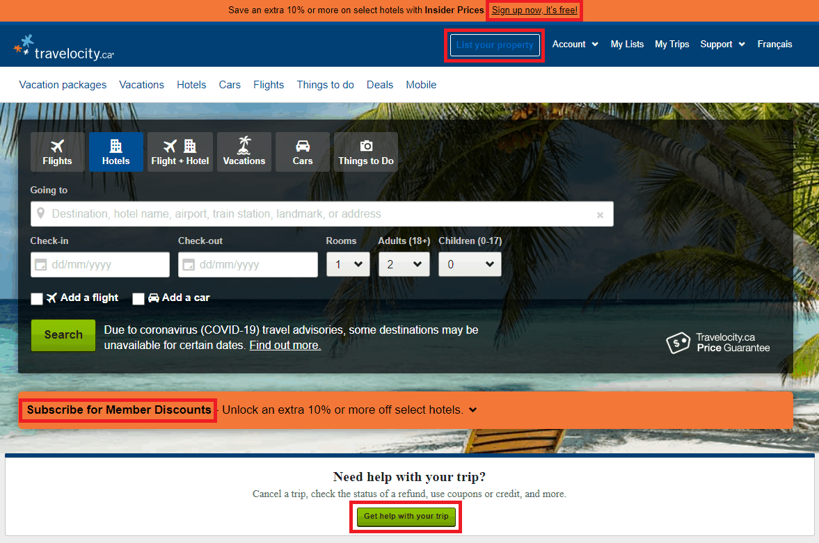 Travelocity web interface