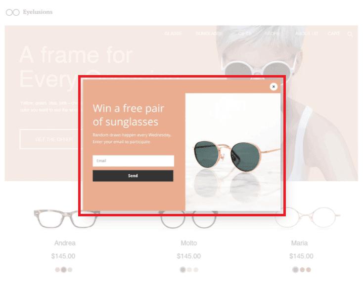website popup example