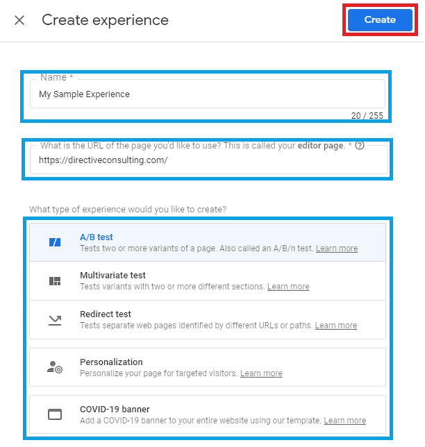 google optimize start experience