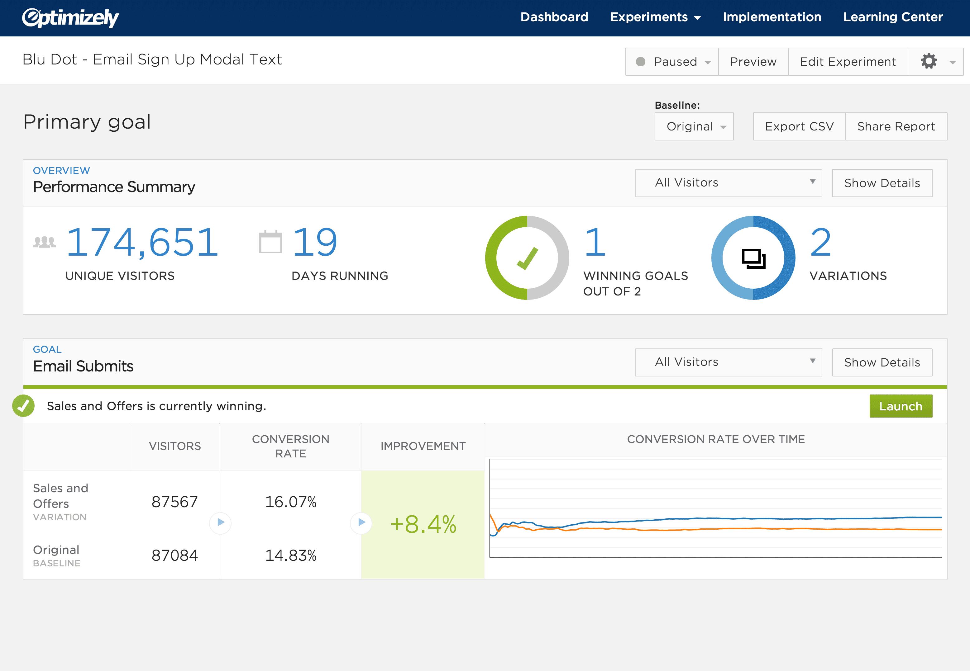 Optimizely web interface