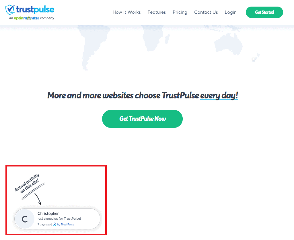 website activity updates on Trustpulse.com