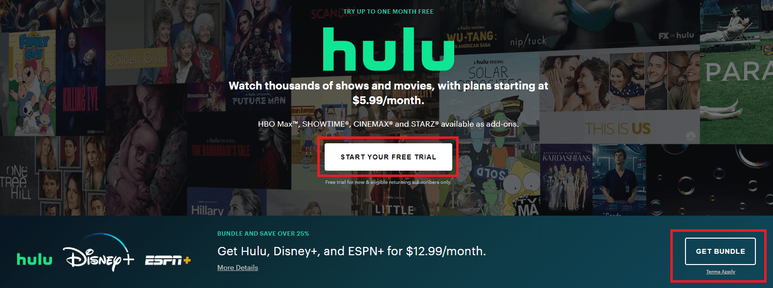 Hulu web interface