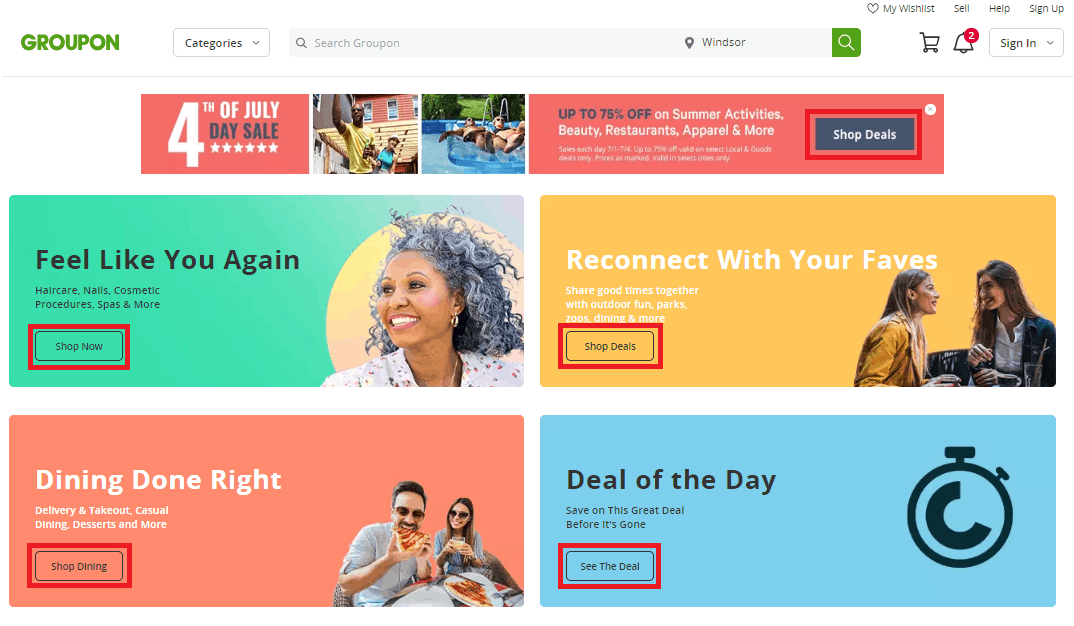 Groupon web interface
