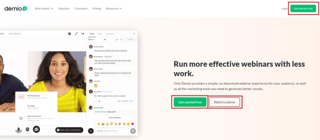 demio website button design