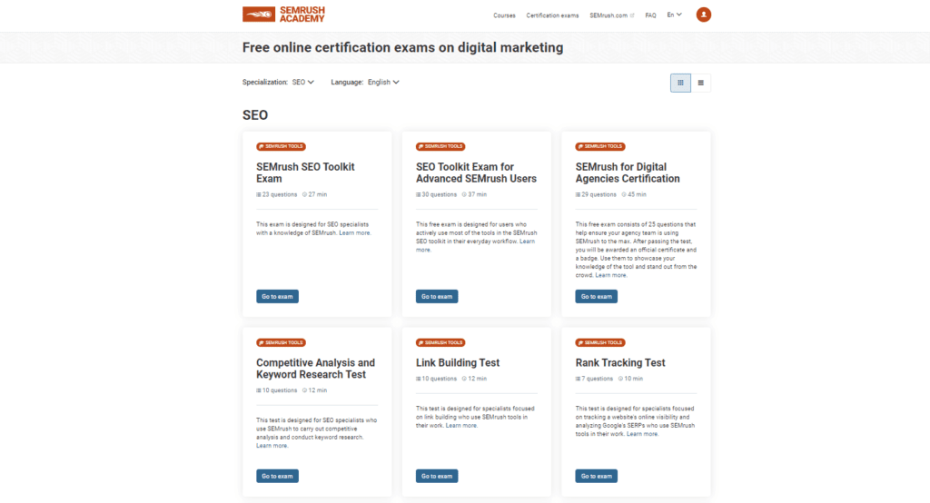 semrush seo certification