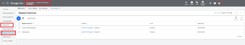 Setting up a negative keyword list