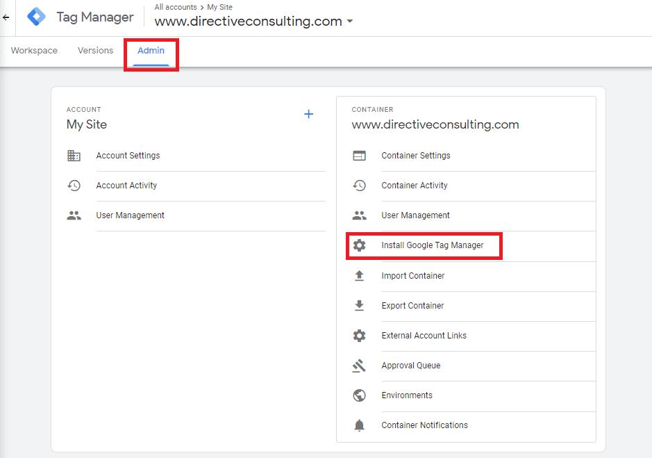 google tag manager admin