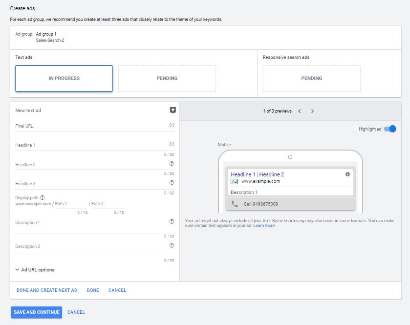 google text ad setup